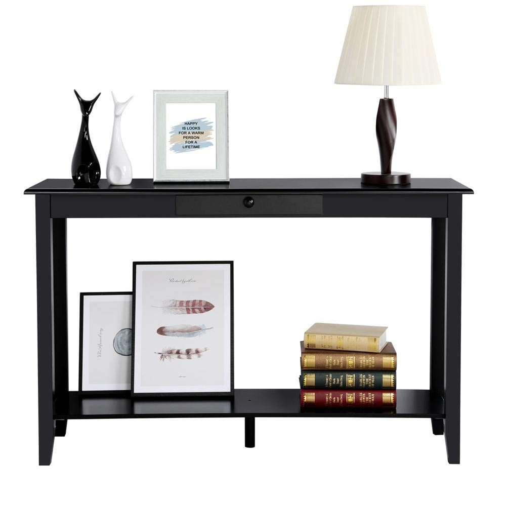Yaheetech 2 Tiers Wood Console Sofa Table with Drawer and Shelf Living Room Entryway Table, Black by Yaheetech