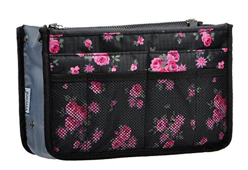 Purse Organizer,Insert Handbag Organizer Bag in Bag (13 Pockets 15 Colors 3 Size) (L, Black Red Flower) (Daily Sale Coupon)