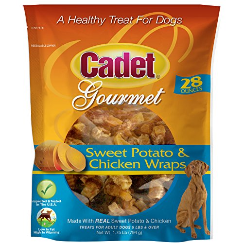 Cadet Chicken Sweet Potato Dog Chew Treats | 28 oz.| Dog Chew Treat Wraps | Stick Kabobs (Shape Potato Sweet)