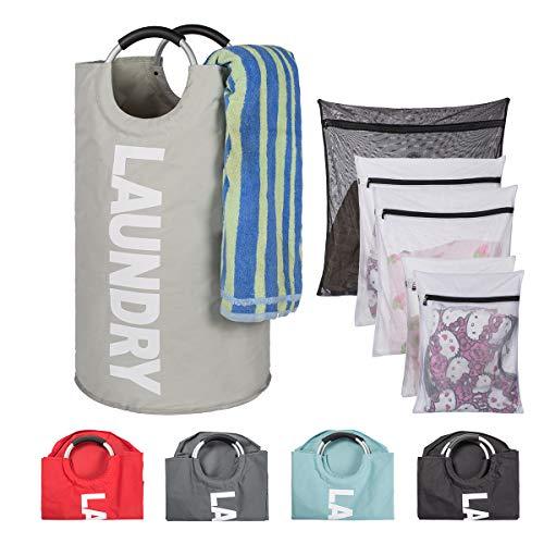 (TOMHOM Large Laundry Basket Collapsible Fabric Laundry Hamper Foldable Clothes Bag Folding Washing Bin Laundry Set 5 Colors Available (Light Grey+Washing)