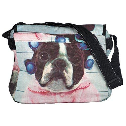 Baumwolle Umhängetasche Schultertasche Medium Damen Hunde Messenger Bag
