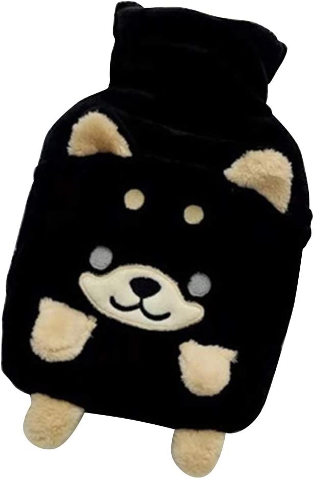 Black JYCRA Hot Water Bottle with Super Soft Plush Dog Removable Cover Premium Rubber Warm Winter Hot Water Bag for Pain Relief