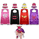 JNEGLO Superhero Capes for Kids – Includes Spidergirl, Batgirl, Supergirl and Wonder Woman