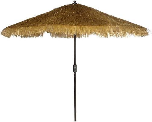 9 8 Ribs Thatch Tiki Umbrella with Crank and Auto Tilt Aluminum Outdoor Patio Market Umbrella Thatched Tiki, Beige