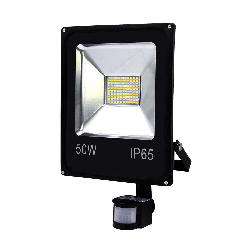 2X 50W LED mit PIR Bewegungsmelder Flutlicht draussen Aussenstrahler Warmweiß