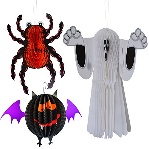 Halloween Hanging Paper Lantern,Topbuti Pack of 3pcs Ghost Bat Spider Shaped Large Paper Lanterns Paper Hanging Decoration Kit for Halloween Night Party Kids Gift