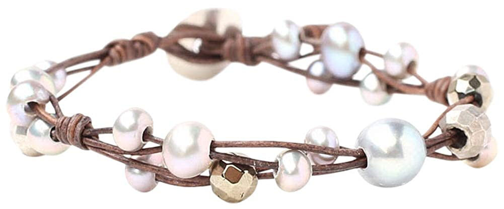 3542aef008a9 Amazon.com: Chan Luu Freshwater Cultured Pearl Single Wrap Bracelet on  Natural Leather (Grey Mix): Jewelry