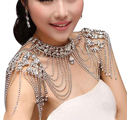 Edith qi Bridal Jewelry Sets,Crystals Wedding Shoulder Necklace with Chain,Body Accessory for Wedding Evening Cocktail Party Prom Dress (Crystal-Style 04)