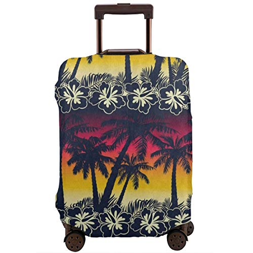 Luggage Cover Tropical Palm Tree Sunset Flower Creative Travel Suitcase Cover Protector Bag Dustproof Washable Fits 18-32 Inch Luggage ()