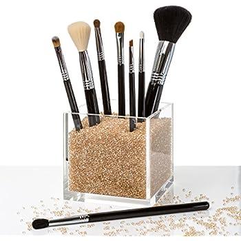 Acrylic Makeup Organizer & Counter Top Makeup Brush Cup Holder with GOLD  Diamond Beads. #