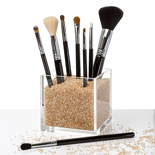 Acrylic Makeup Organizer & Counter Top Makeup Brush Cup Holder with GOLD Diamond Beads. #1 for Mac, Real Techniques, Naked Sigma, Kardashian Makeup Brushes and more...