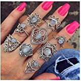 Alonea Boho Finger Rings, 9 Rings Set Fashion Bohemian Vintage Women Alloy Finger Rings Punk Ring Gift (Silver??)