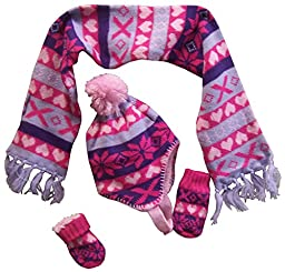 N\'Ice Caps Little Girls And Infants Sherpa Lined Snowflake Knitted Set (6-18 months, pink/purple/fuchsia/lt purple print)