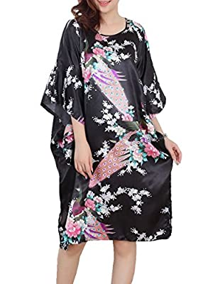 UpdateClassic Women Vintage Peacock Print Nightdress Sleepwear Peacock Bathrobe