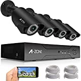 A-ZONE 2-Megapixel(1920x1080)High Resolution POE Security System NVR with 4x HD 2.0MP 1080P Outdoor Fixed Security Cameras,with 2TB Hard Drive