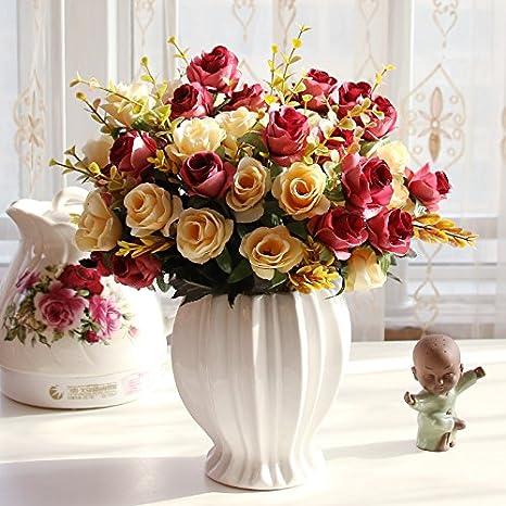 T Continental emulación rosa Artificial flores adornos Sala de estar mesa de comedor Botella