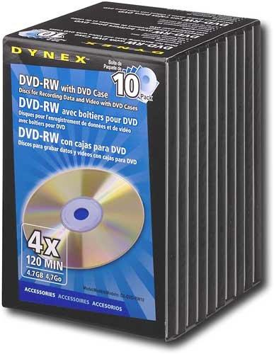 Dynex DVD-RW 10 Pack with DVD Case DX-DVD-RW10 by Dynex