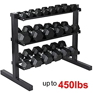 Yaheetech 3 Tier Horizontal Dumbbell Rack Multilevel Weight Storage Stand Organizer for Home Gym, Weight Capacity: 441 Lb