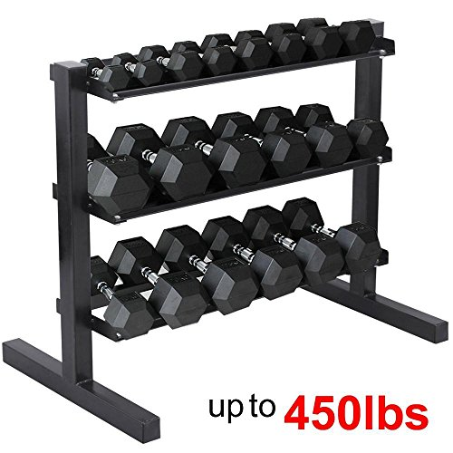 Yaheetech 3 Tier Horizontal Dumbbell Rack, Weight Capacity: 450 Lb