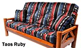 Memory Foam Futon Mattress Upholstery Southwest Print With 2 Matching Pillows (Full, Taos Ruby)Made in the USA