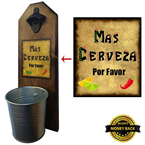 """Cheap """"Mas Cerveza"""" Bottle Opener and Cap Catcher – Handcrafted by a Vet – 100% Solid Pine 3/4 inch Thick – Rustic Cast Iron Bottle Opener and Galvanized Bucket – To Empty, Twist the Bucket – Unique Gift!"""