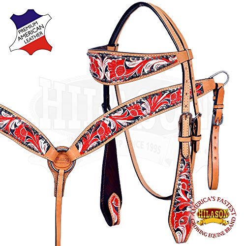 HILASON Western Horse Headstall Breast Collar Set Tack American Leather Red