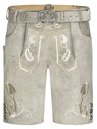 Herren Bergkristall helle/graue Lederhose kurz Trachtengürtel - Trachten Lederhose Vintage mit Gürtel