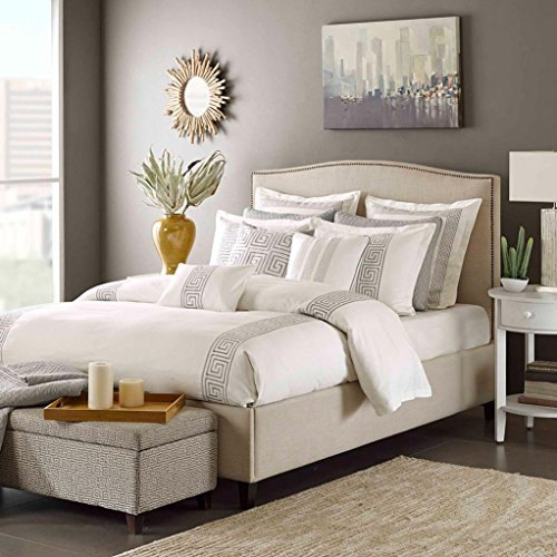 Hampton Hill Corfu Comforter Set, Queen, White (Embroidered Pique Sham)