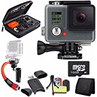 GoPro HERO+ LCD + Steadicam Curve for GoPro HERO Action Cameras (Red) + 16GB microSD Memory Card + Case for GoPro HERO4 and GoPro Accessories + 6pc Starter Kit Bundle