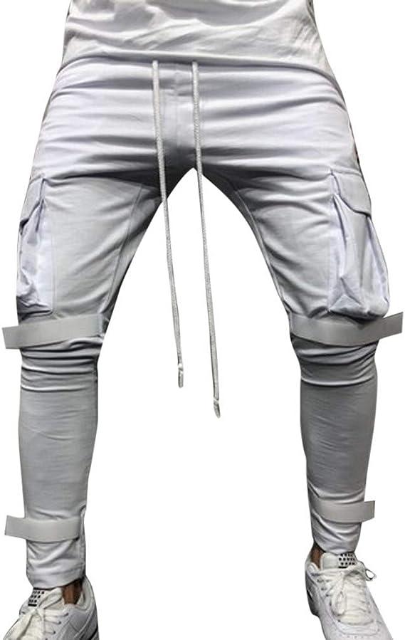 Pantalones Hippies Hombre YiYLunneo Chándal de Hombres Moda ...