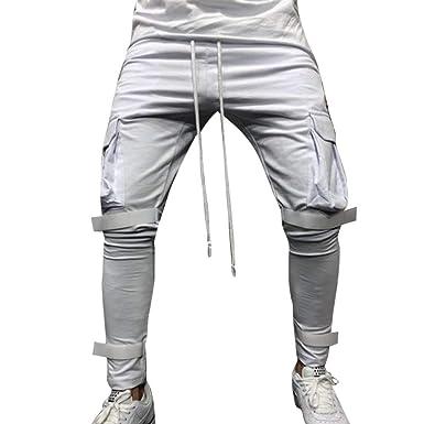Moda Hombres Sueltos Pantalones para Otoño Invierno de Bolsillo Joggers Ocasionales Deportes de Pantalones chándal para Hombre Pantalones cómodos ...