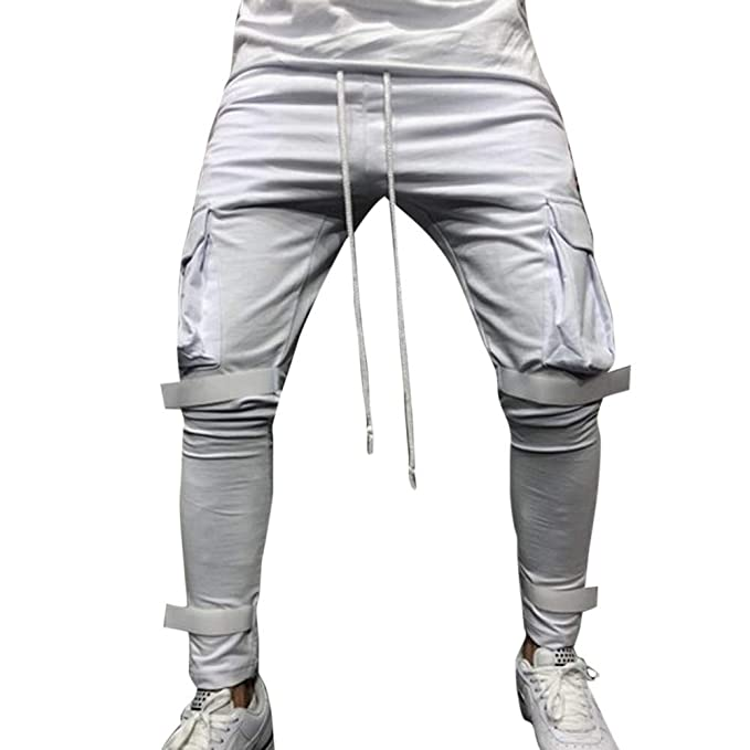 beaf09d1280d6 Moda Hombres Sueltos Pantalones para Otoño Invierno de Bolsillo Joggers  Ocasionales Deportes de Pantalones chándal para Hombre Pantalones cómodos  Holgados  ...