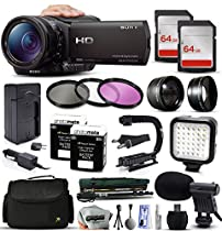 Sony HDR-CX900 Full HD Handycam Camcorder Video Camera + 128GB Memory + Travel Charger + 3 Filters + 2 Batteries + Opteka X-Grip + LED Light + Microphone + Monopod + Large Case + Dust Cleaning Kit