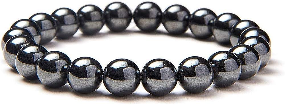 Pulsera elástica Sunnyclue con cuentas redondas de 8mm semipreciosas, de 18cm aproximadamente, unisex
