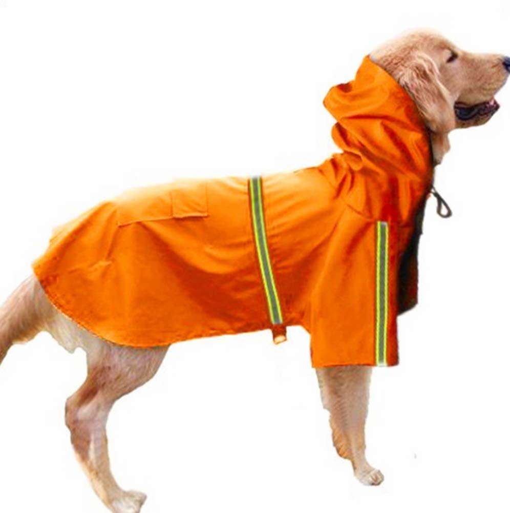 orange XL orange XL Pet Dog Raincoat Medium Large Dog Adjustable Pet Waterproof Clothes Lightweight Rain Jacket Poncho Hoodies with Strip Reflective(Bust34-105cm)