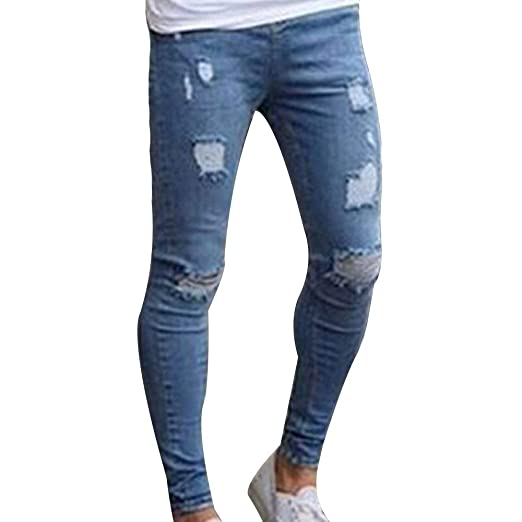 af40cecd3c1 Image Unavailable. Image not available for. Color  HIENAJ Men s Slim Fit Distressed  Skinny Jeans Fashion Ripped Stretch Denim Pants