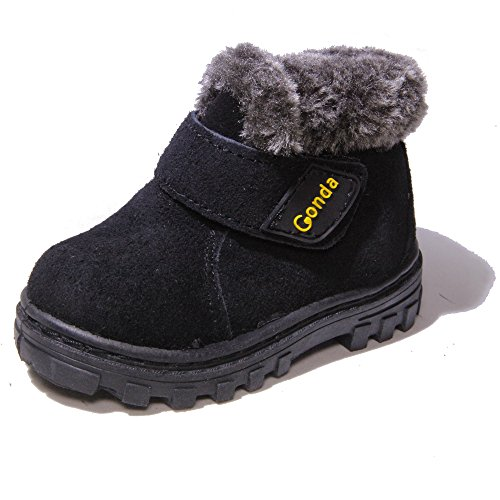 Kids Conda Black Faux Fur Suede Boots - Fur Lined Winter Boots Size 8 M US Toddler