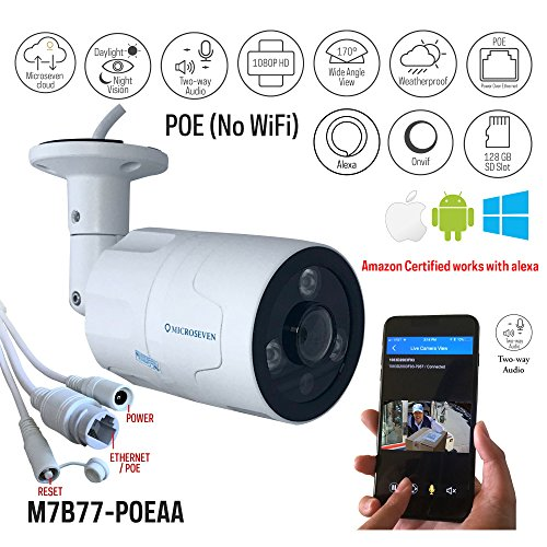 Microseven 1080P Certified Works Alexa HD POE IP Camera, Free 24Hr Cloud,Two-Way Audio Wide Angle (170°) IR Outdoor Built-in Microphone & Speaker 128GB SD Slot, ONVIF, Live Streaming microseven.tv by Microseven