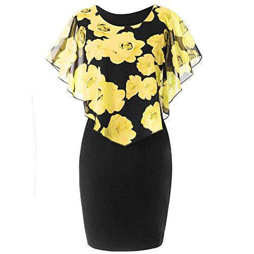 HGWXX7 Womens Fashion Plus Size Rose Print Chiffon Straight Skirt Ruffles Dress (M, Yellow)