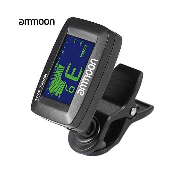 ammoon AT-02 Tuner Elettrico Clip-on Tre Colori Retroilluminato Schermo per Portable Chitarra Cromatica Bass Ukulele universale
