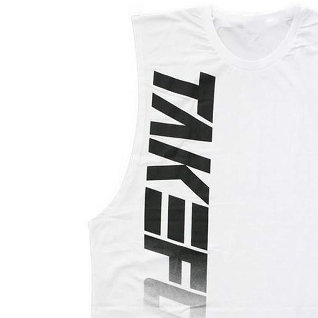 Holata Mens Shirt Tank Top Fitness Muscle Letter Print Sleeveless Bodybuilding Vest Blouses