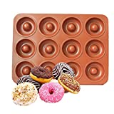 CHEFHUB Copper Mini Donut Pan, 12 Cavity Mini Donut Maker Dia=2'' Non-Stick Extra Thick Baking Pan, Kitchen Novelty Pan, Bake Cake, Donut, Mini Bega, Great for Home, Party, Kids Party, Cute