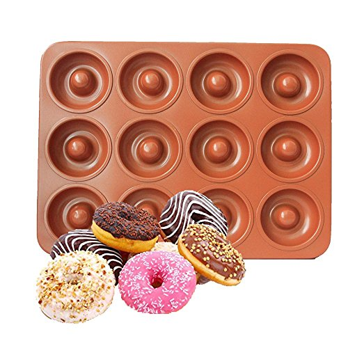 CHEFHUB Copper Mini Donut Pan, 12 Cavity Mini Donut Maker Dia=2'' Non-Stick Extra Thick Baking Pan, Kitchen Novelty Pan, Bake Cake, Donut, Mini Bega, Great for Home, Party, Kids Party, Cute by CHEFHUB