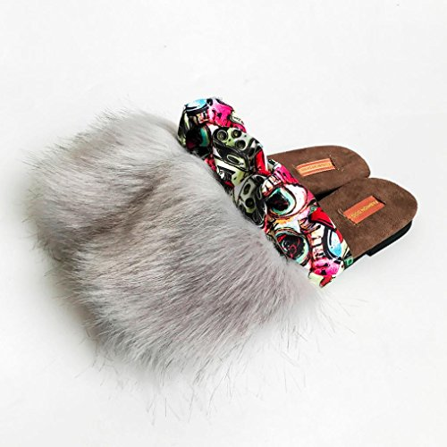 Pelz d Ladies Easy Fluffy bequem Flache grau tragen zu Faux Slipper An Womens HfRZqxw