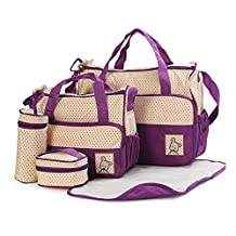 5pcs Baby Changing Diaper Nappy Bag with Chaning Pad, Mummy Mother Handbag multifunctional set (5 Colors Available: Dark Blue / Black / Purple / Pink / Light Blue)