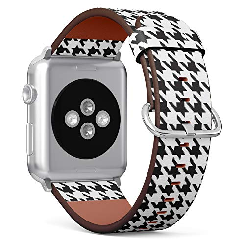 [ Compatible Small Apple Watch 38/40 mm ] Replacement Leather Band Bracelet Strap Wristband Accessory // Houndstooth Black Pattern