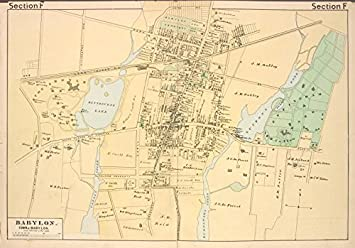 Amazon.com: Historic 1888 Map | Babylon. [Village] | New York (State ...