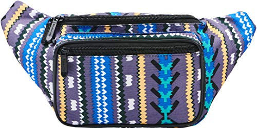 (SoJourner Aztec Fanny Pack - Boho Festival Packs for men, women | Cute Waist Bag Fashion Belt Bags)
