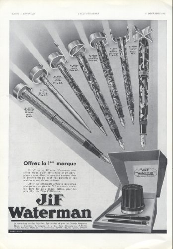 1934-ad-jif-waterman-french-fountain-pens-original-vintage-advertisement