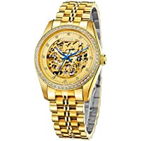 Cadisen Mens Business Royal Luxury Gold Sapphire Skeleton Mechanical Watches